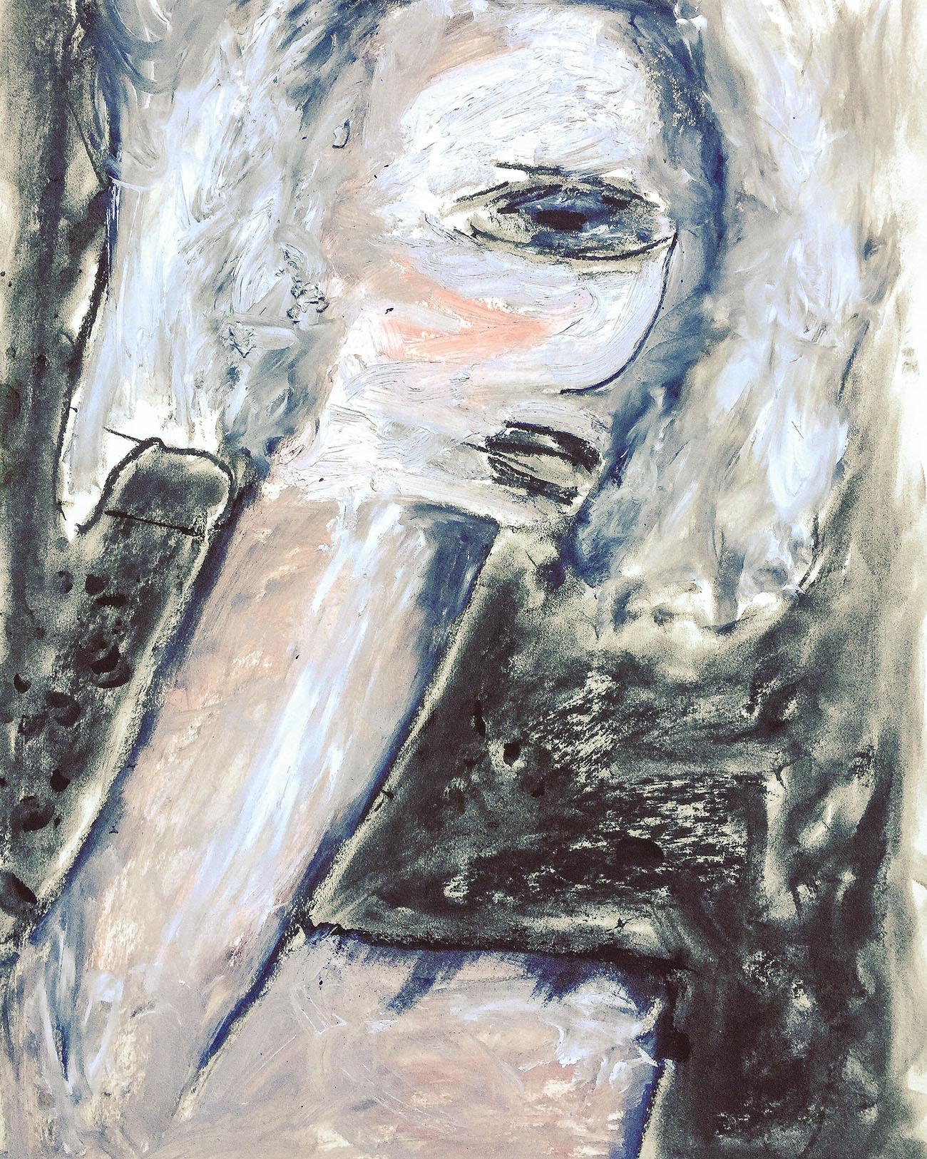 "Moderne Gemälde / Kohle Malerei ""Faces Bliss"", Kvila Bristenia, 50x65, Mischtechniken mit Kohle und Ölfarben/Oil with coal on paper, 03.2018"
