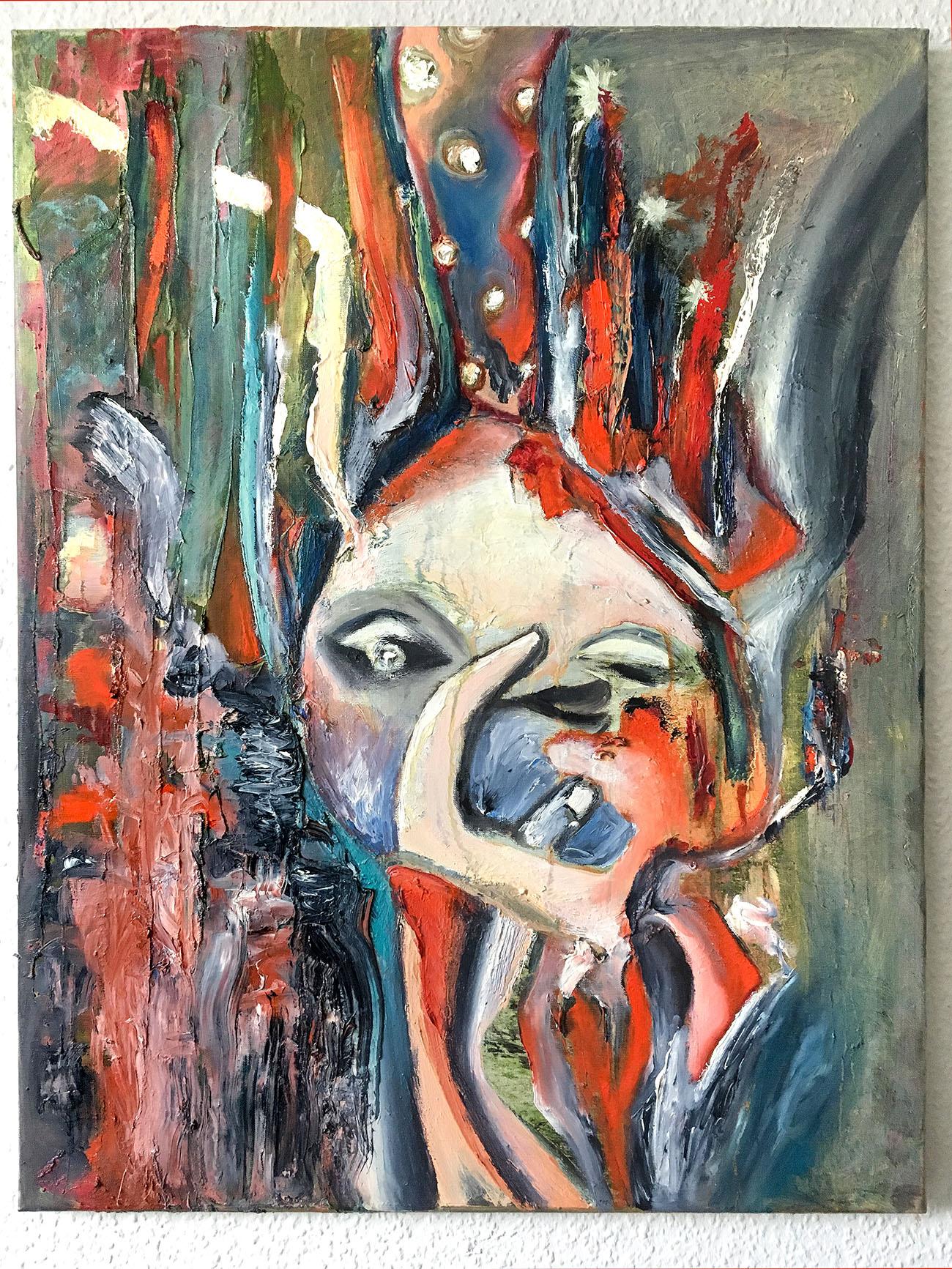 "Abstrakt Deco / Moderne Gemälde ""Faces: V moyim sadu"", Kvila Bristenia und Tilarids, 60x80, Ölfarben, 11.2017"