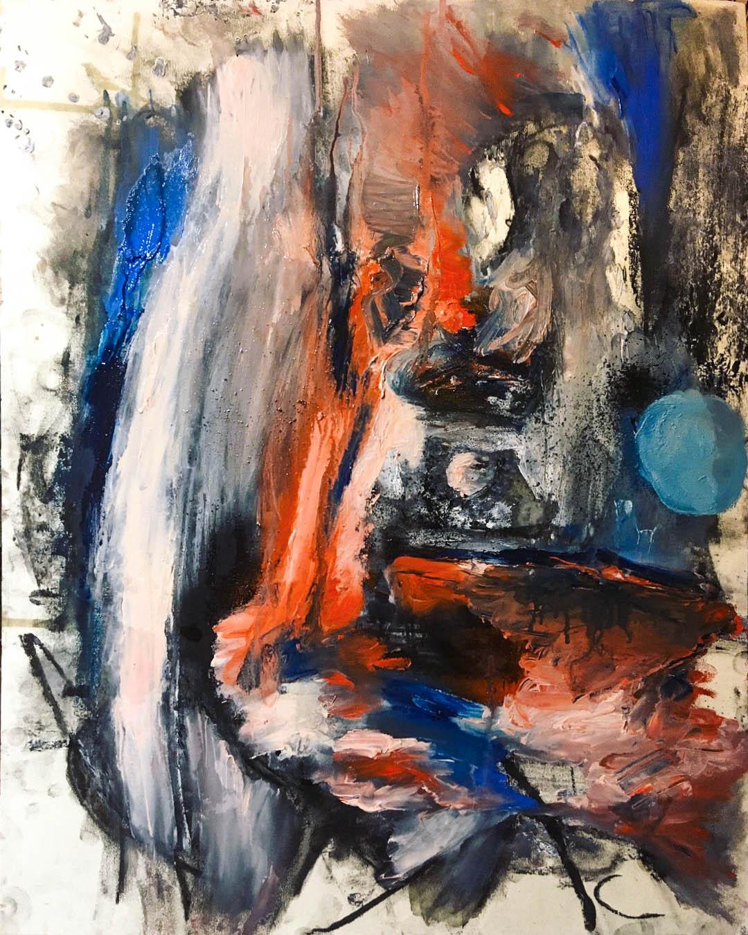 "Moderne Gemälde / Kohle Malerei ""Inhibitor of Fortune and Tolerance"", Tilarids, 50x65, Mischtechniken mit Kohle und Ölfarben/Oil with coal on paper, 03.2018"