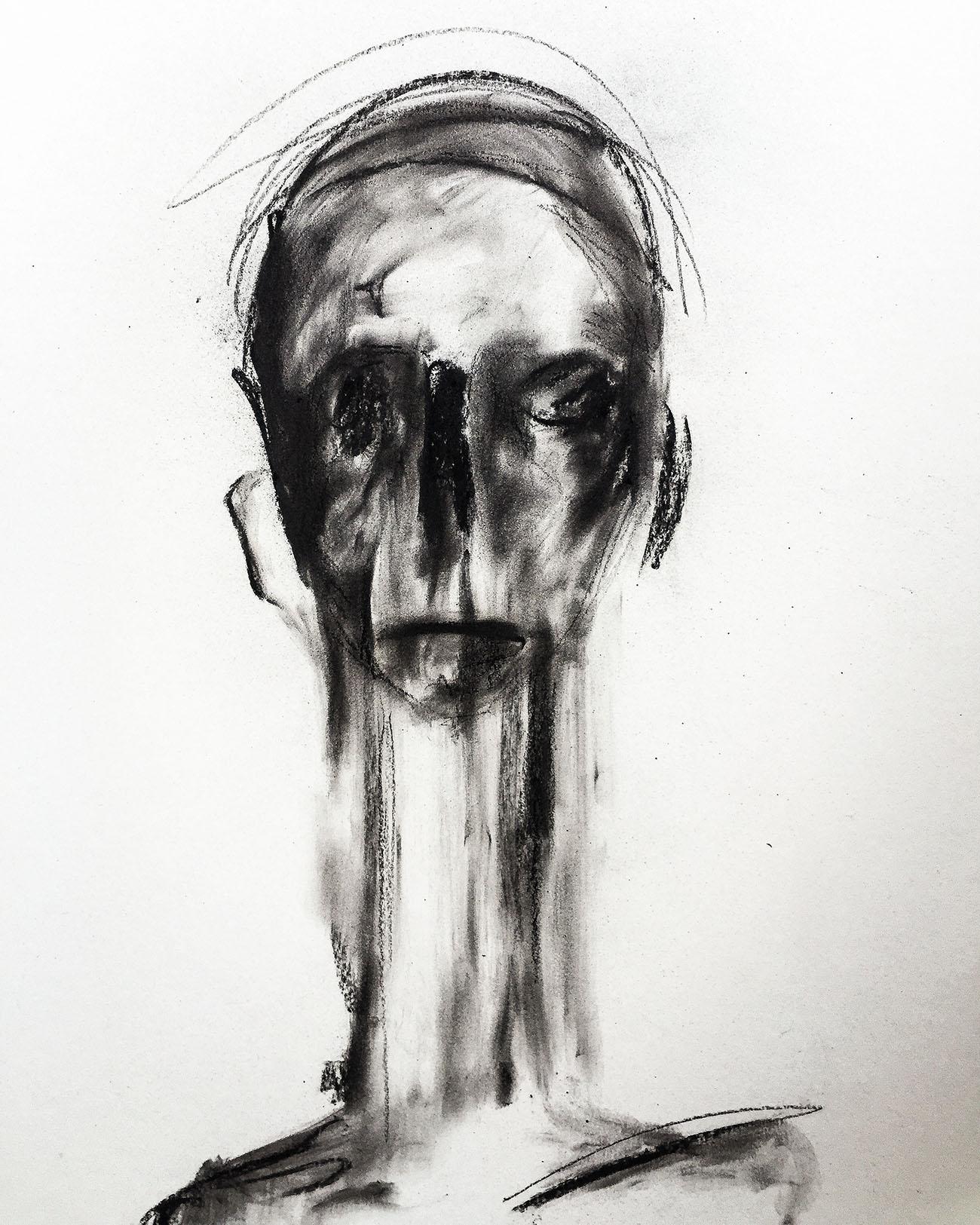 "Gemälde in Dresden ""Faces: Don't forget yourself"", Kvila Bristenia, 50×65, Kohle auf Papiere 300g, 03.2018"