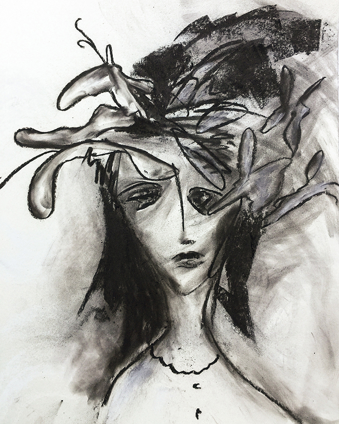 "Gemälde ""Faces: In the mist of dreams"", Kvila Bristenia, 50×65, Kohle auf Papiere 300g, 03.2018"