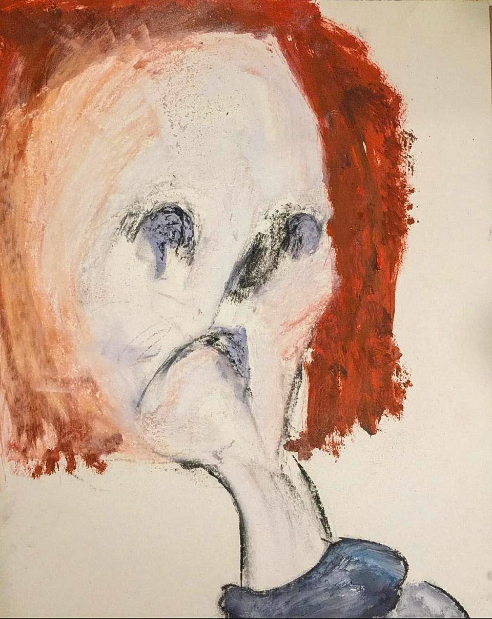 """Handgemalte Gemälde """"Faces: Lola"""", Kvila Bristenia, 50×65, Kohle auf Papiere 300g, 03.2018"""