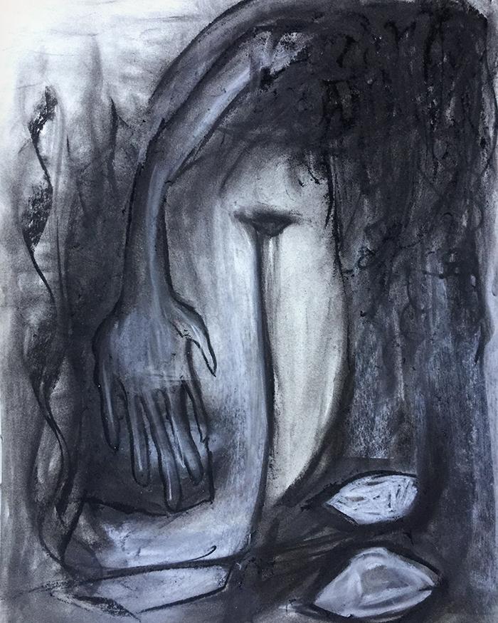 "Zeichenkohle ""Ships of hope"", 50×65, Kvila Bristenia, Kohle auf Papiere 300g, 03.2018."