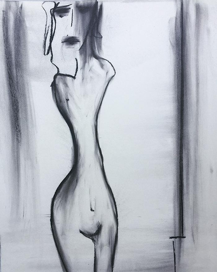 "Gamälde ""TIed hands"", 50×65, Kvila Bristenia, Kohle auf Papiere 300g, 03.2018."
