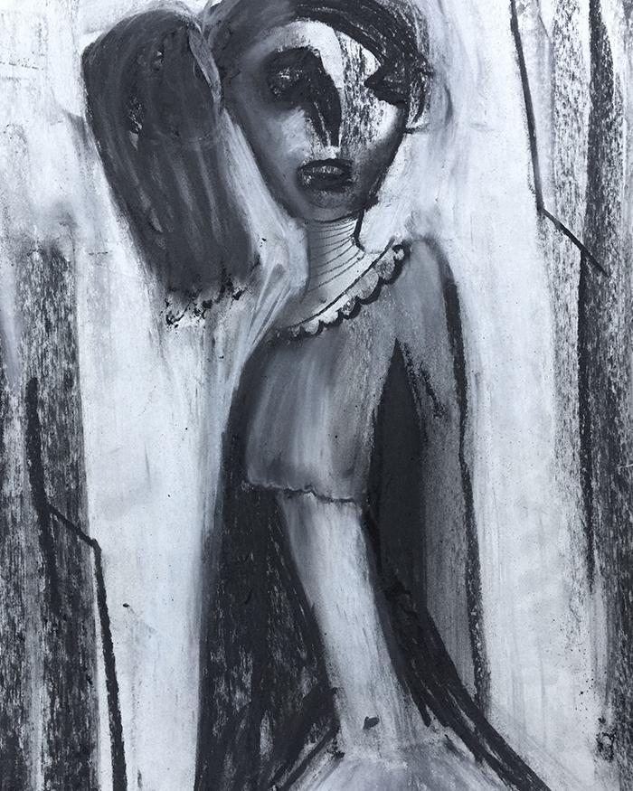 "Kohlemalerei ""On the blink of insanity"", 50×65, Kvila Bristenia, Kohle auf Papiere 300g, 03.2018."