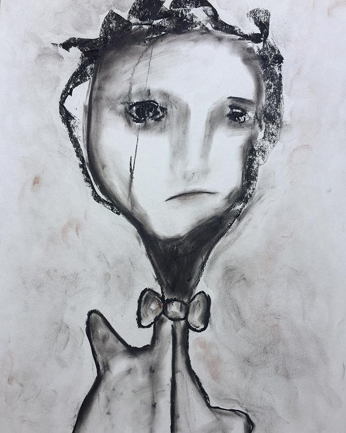 """Abstrakte kohlezeichnungen """"Faces: Festive"""", 50×65, Kvila Bristenia, Kohle auf Papiere 300g, 03.2018."""
