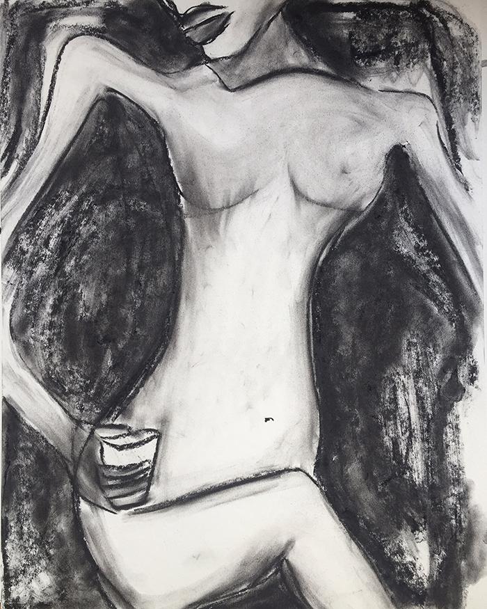 "Moderne Illustrationen ""Nacked Truth"", 50×65, Kvila Bristenia, Kohle auf Papiere 300g, 03.2018."