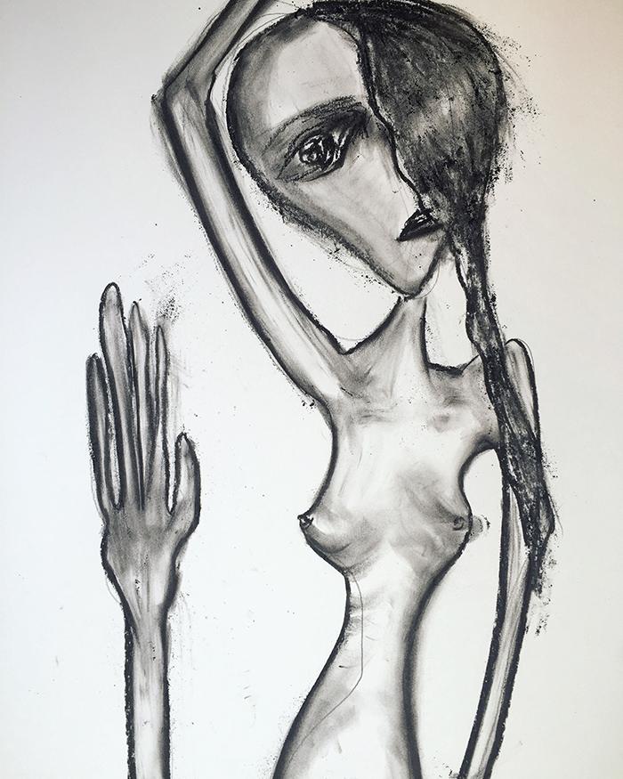 """Zeitgenössische Kunst """"Waving"""", moderne Illustrationen, 50×65, Kvila Bristenia, Kohle auf Papiere 300g, 03.2018."""