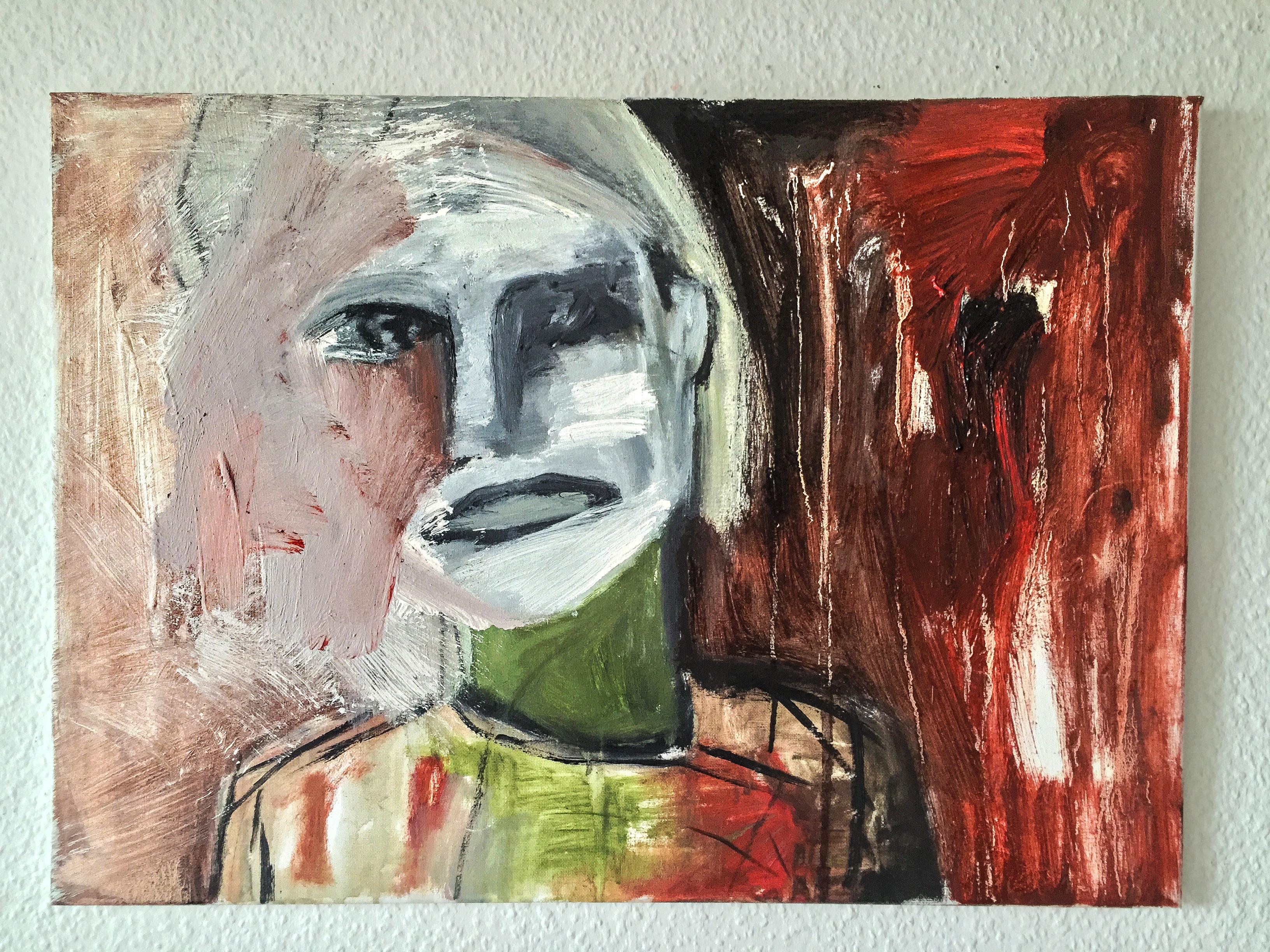 "Abstrakte Malerei ""Faces: Gone from irrelity"" Künstlerin Kvila Bristenia, 50x70, Öl auf Leinwand, 12.2017 , abstrakte Bildergalerie, expressive Malerei, abstrakte malerei, abstrakte bilder, Gemälde und Malerei, direkt aus dem Kunst Atelier"