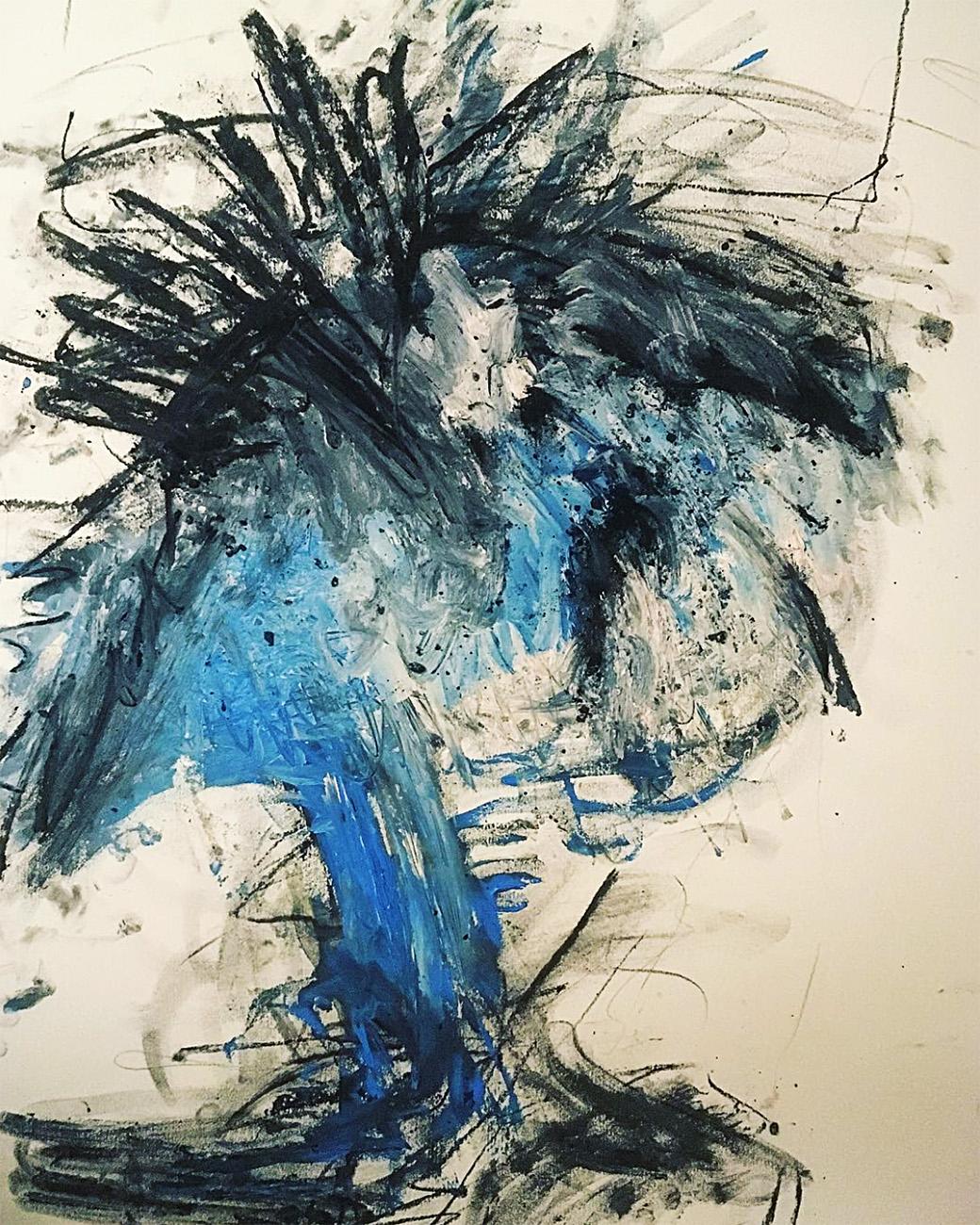"""Zeitgenössische Kunst """"Naked Mind"""", Tilarids, 50×65, Kohle auf Papiere 300g, 03.2018"""