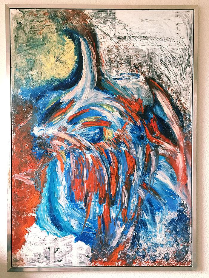 """Zeitgenössische abstrakte XXL Gemälde """"Organized secret"""" Künstler Tilarids, 140x100, Öl, 03.2018"""