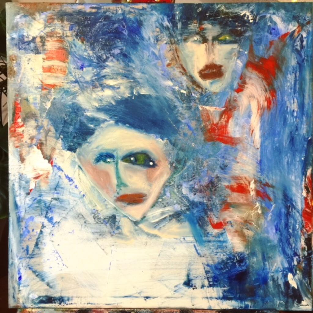 """Zeitgenössische Gemälde """"Frends"""" Künstlerin Kvila Bristenia, 60x60, Öl auf Leinwand, 02.2018 Sie suchen moderne Gemälde, Moderne Kunst Bilder, Malerei kaufen, Zeitgenössische Gemälde,"""