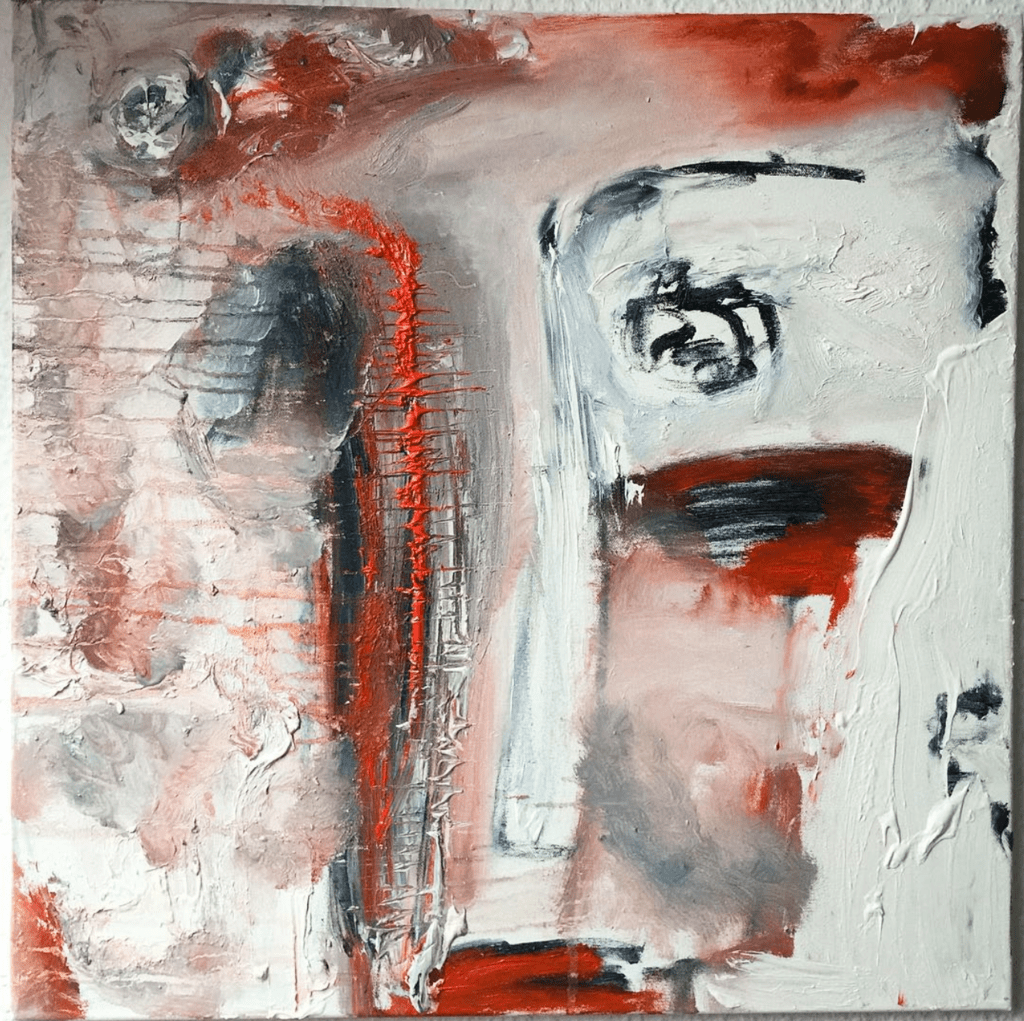 """Tolle Gemälde """"Faces: Find it"""" Künstlerin Kvila Bristenia, 60x60, Öl auf Leinwand, 02.2018 Gemälde aus Dresden, tolle Gemälde, berühmte künstler der modern, moderne maler Deutschland, Gemälde kaufen, Original Bilder kaufen,"""