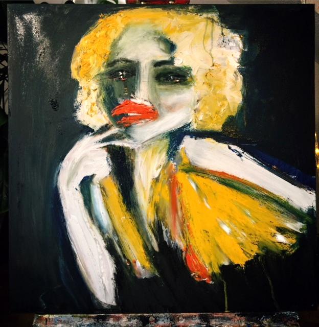 """Tolle Gemälde """"Faces: Monrot"""" Künstlerin Kvila Bristenia, 60x60, Öl auf Leinwand, 02.2018 Gemälde aus Dresden, tolle Gemälde, berühmte künstler der modern, moderne maler Deutschland, Gemälde kaufen, Original Bilder kaufen,"""
