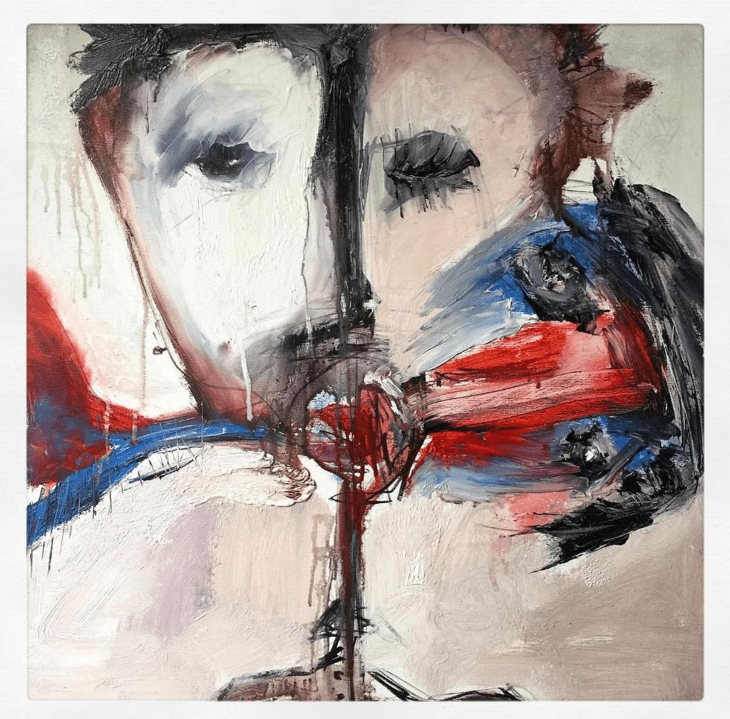 """Abstrakte Originalgemälde """"Faces: Understand me"""" Künstlerin Kvila Bristenia, 60x60, Öl auf Leinwand, 02.2018 Wohnzimmerbilder modern, Originale online kaufen, abstrakte Originalgemälde, Gemälde Unikate,"""
